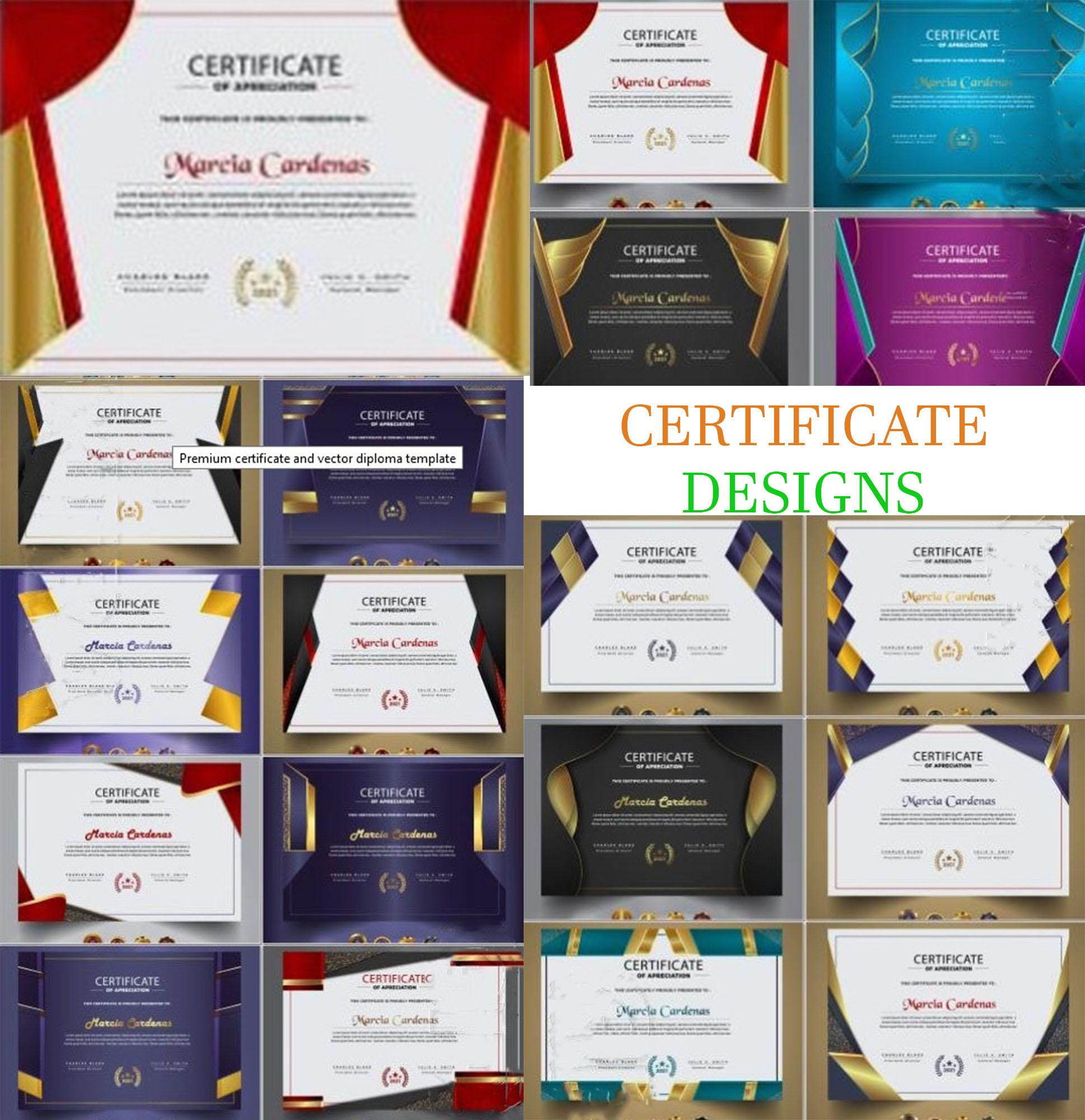 Creative premium certificate and vector diploma template, Editing certificate