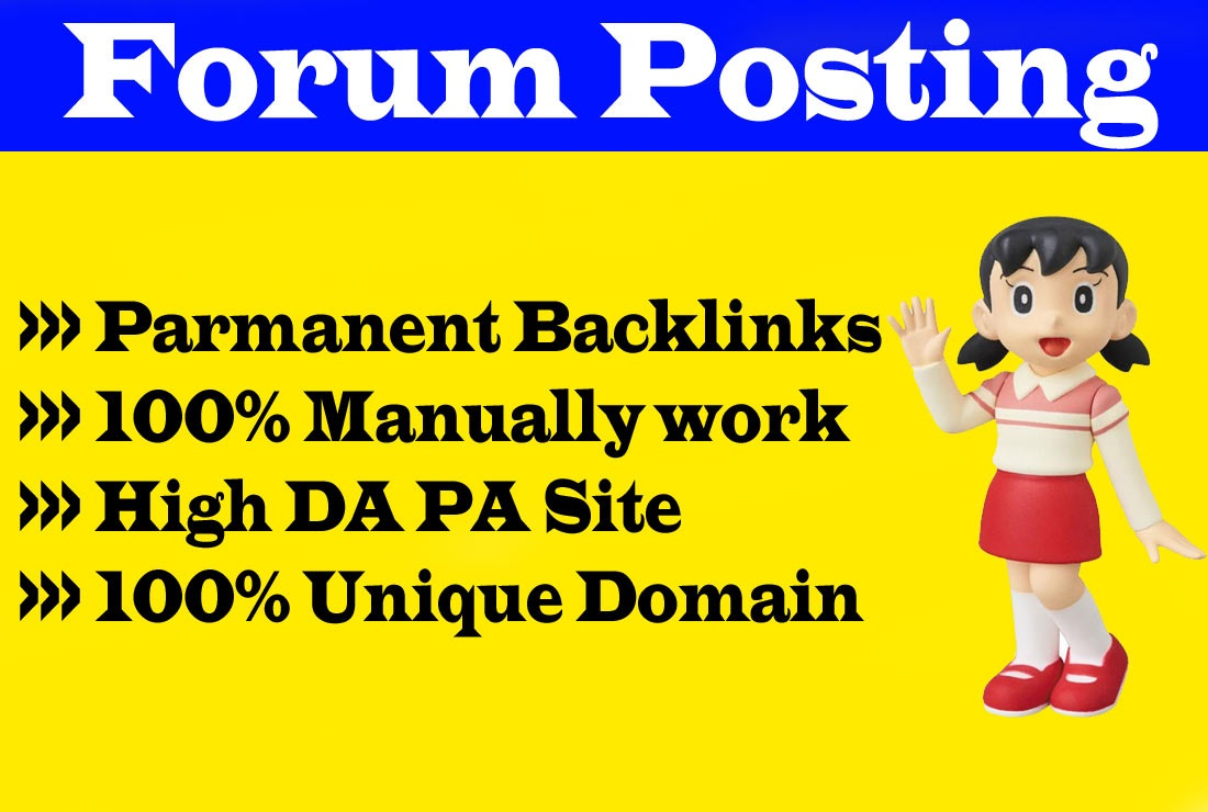 I will manually post 40 high-quality forum backlinks to the High DA PA blog