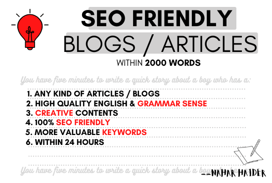 I will write SEO friendly blog posts or articles for your website