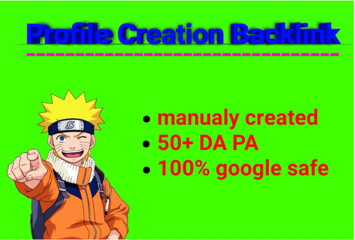 I will provide 40 profile creation backlinks on high DA PA