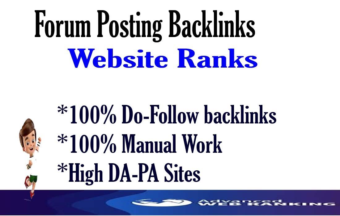 I will do 40 forum posting,  forum thread,  dofollow forum backlinks,  linkbuilding