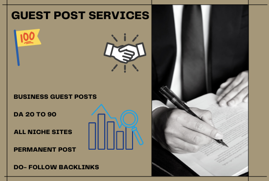 I will provide Backlinks by Guest Posting on High DA Business Sites
