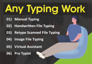 I will professional any data entry typing work