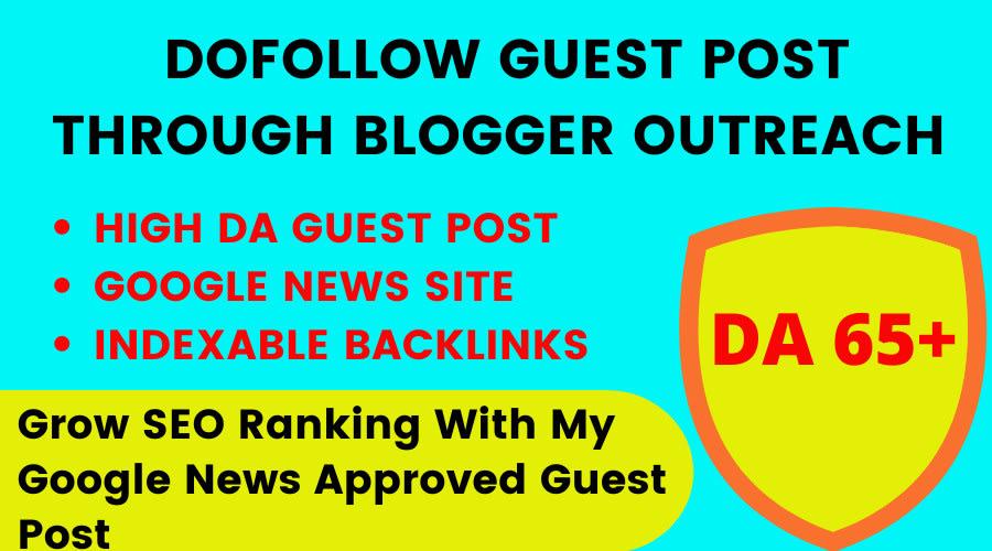do guest post on DA 60 site through blogger outreach