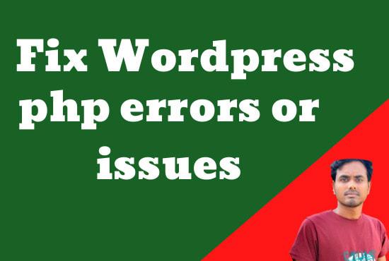 I will fix wordpress errors php,  issues and customization