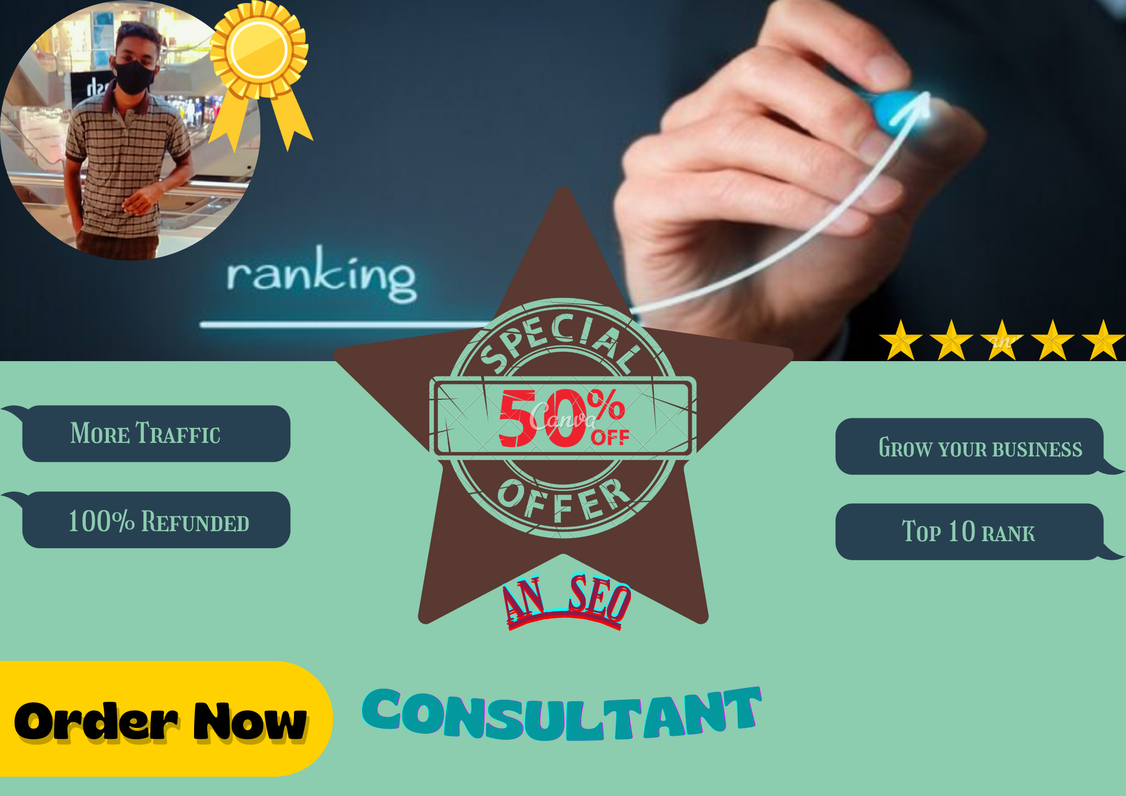 Hire me for grow up your business website by SEO