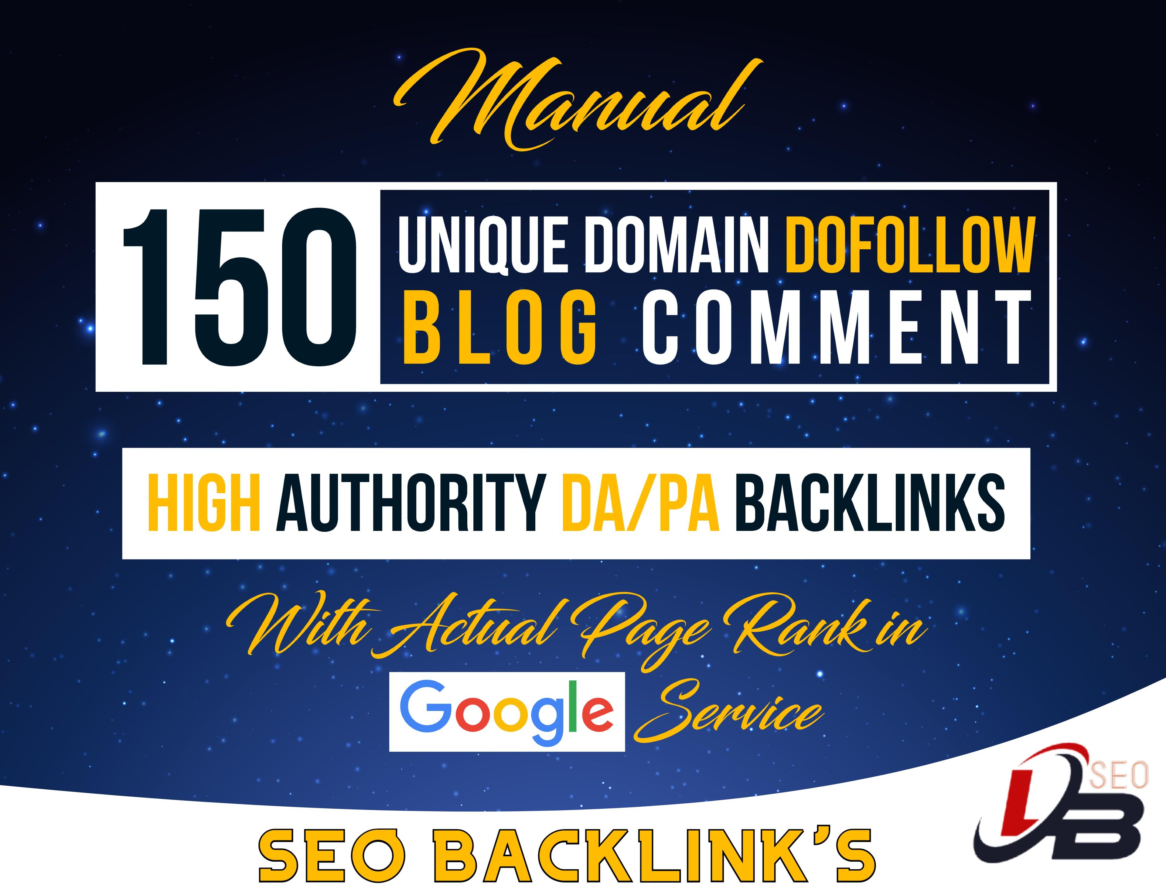 Build 150 Do-follow Blog Comments Backlinks on High DA PA Websites