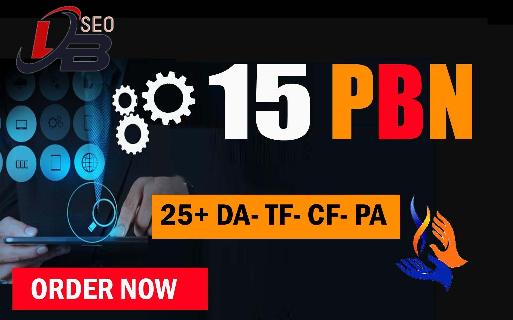 15 Manual PBN'S Post Homepage Dofollow Backlinks TF-CF 20+ High Quality