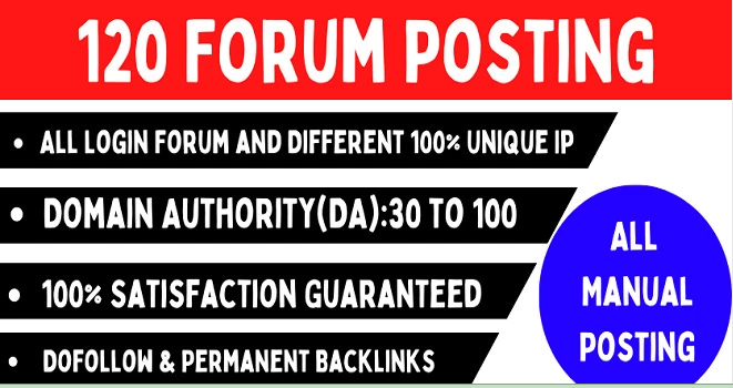I will Provide 120 High-Quality Dofollow Forum Posting