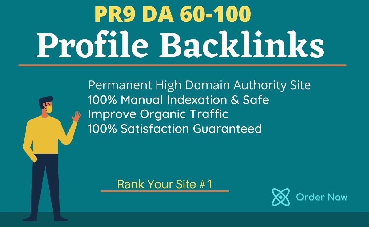 Do 50 PR9 SEO High Authority Permanent Backlinks on DA 60-100