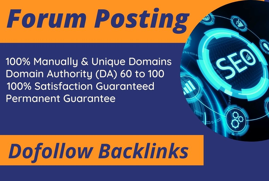 I will provide 50 High qualities Whit hat do follow SEO forum posting backlinks