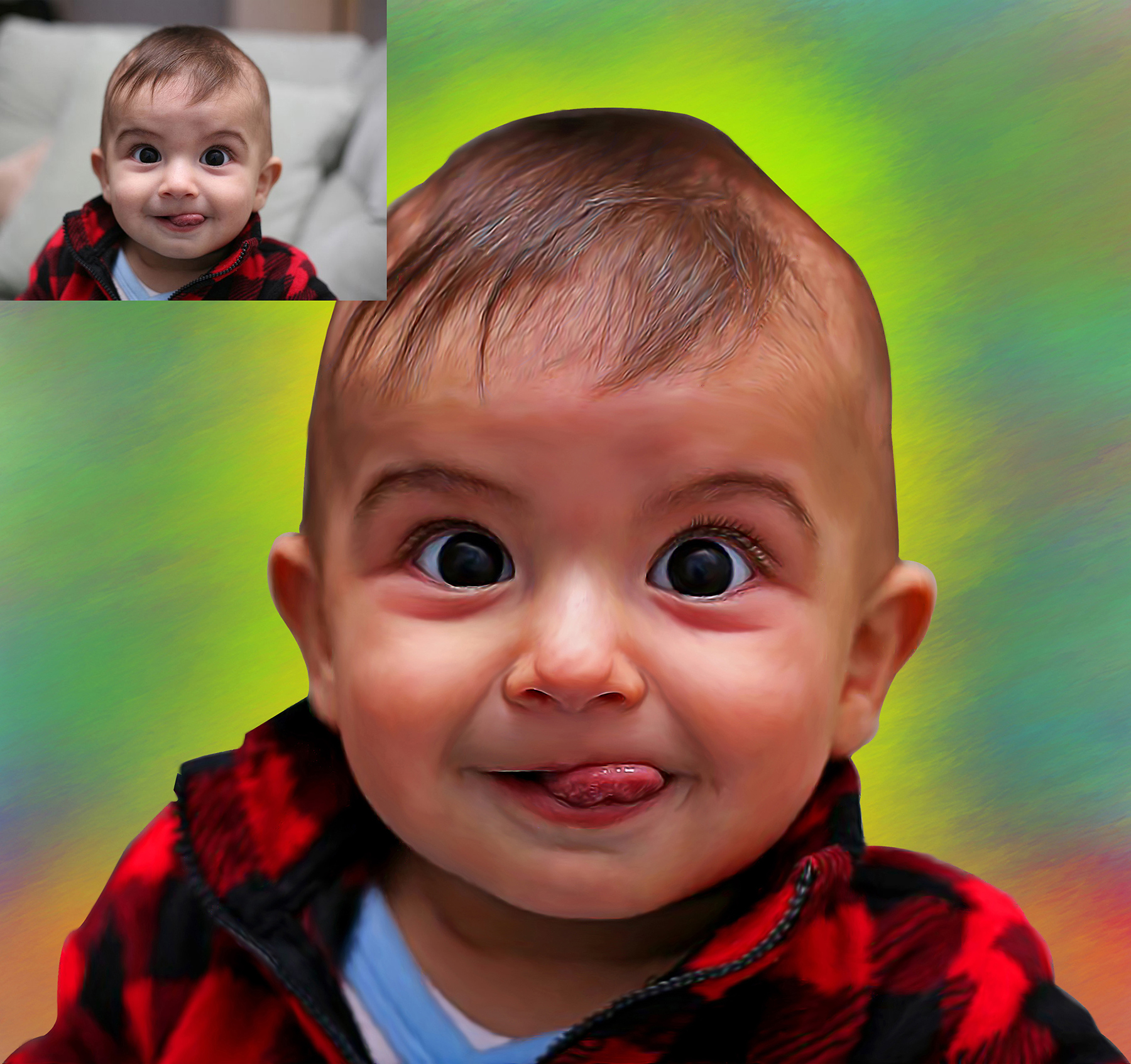 I will draw digital oil painting portrait based on your photo