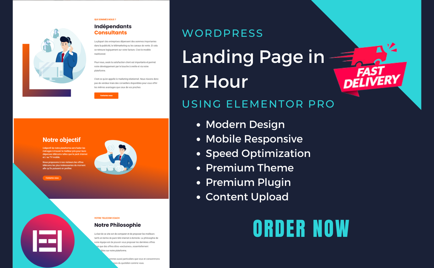 I will design wordpress website or landing page with elementor