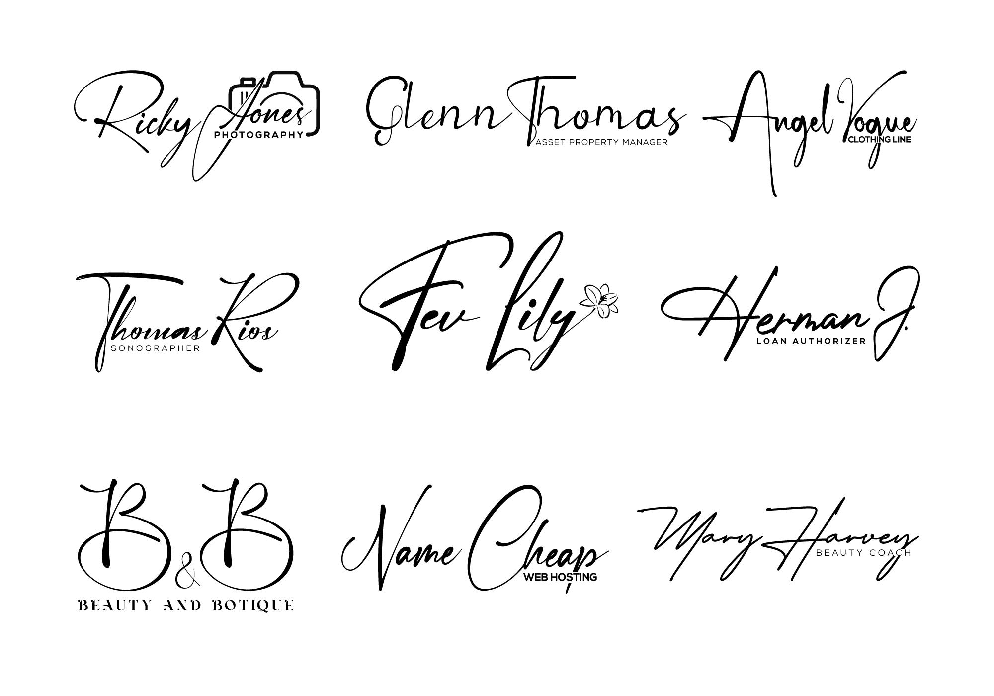 I will design feminine cursive signature type logo