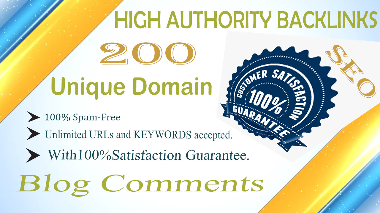 200 unique domain blog comments high quality backlinks for google rankings