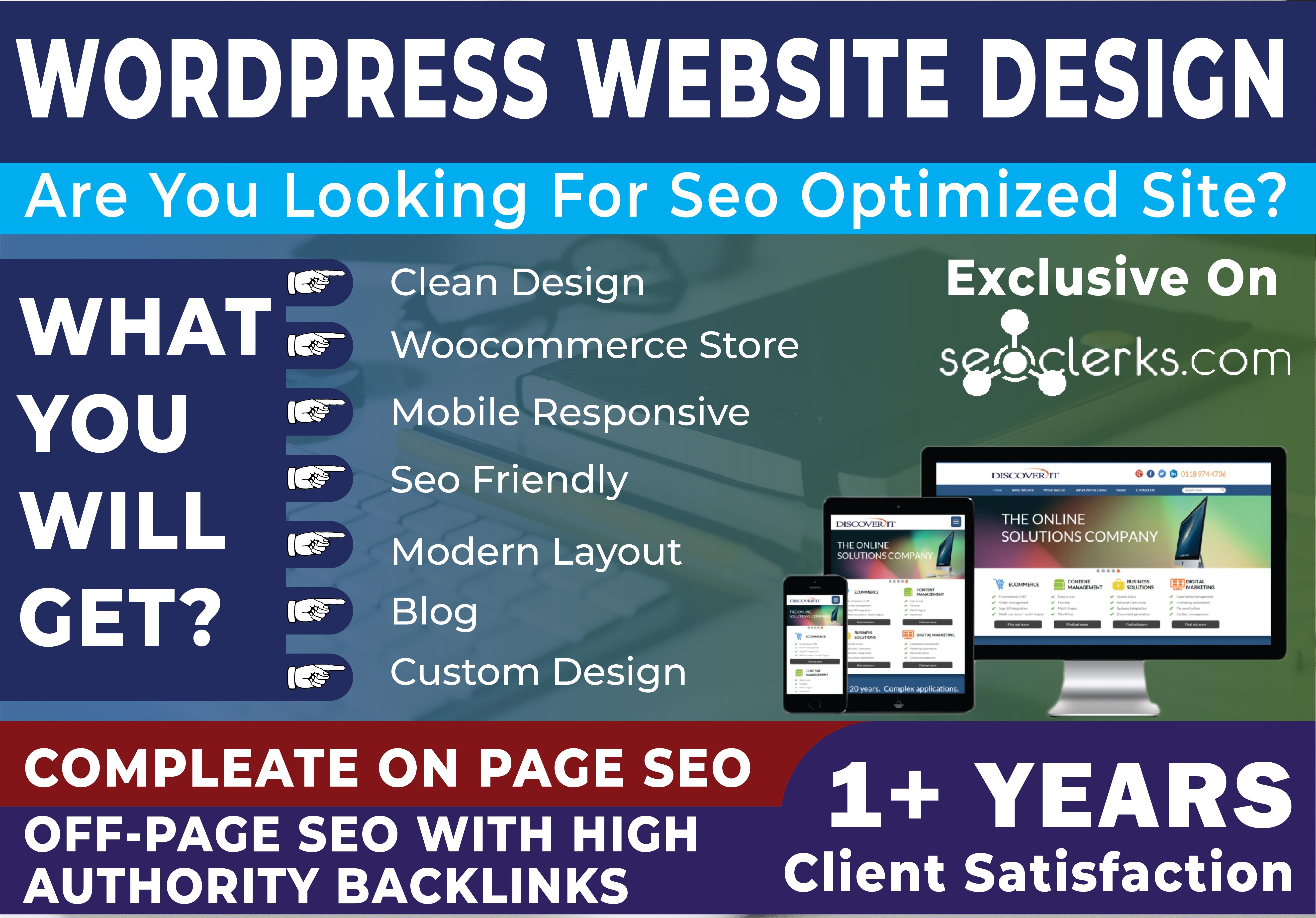 I will design a responsive WordPress website for business
