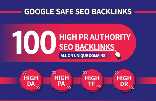 I will Make 100 unique domain SEO backlinks on tf100 da100 sites