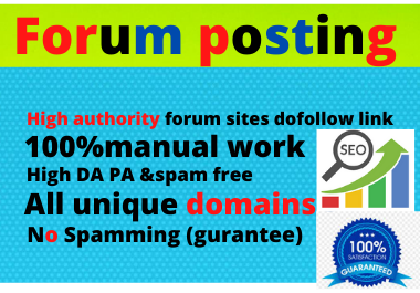 I will create manually-50 Forum Posting Doffolow SEO Backlinks for Google Ranking