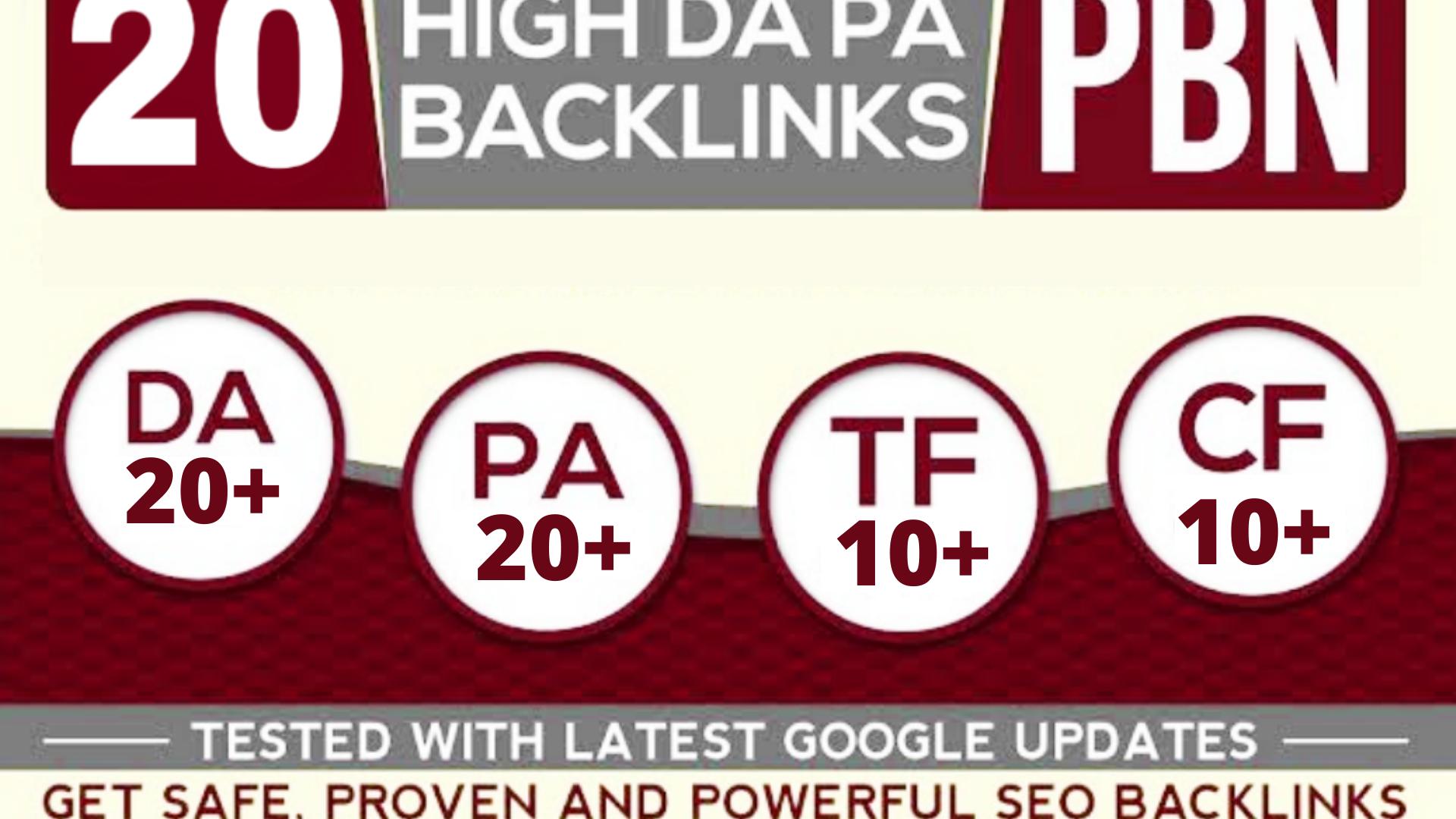 Get 20 powerful SEO permanent PBNs backlinks,  high DA 20+ HOMEPAGE
