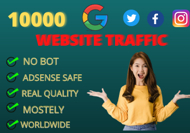 Unlimited human TRAFFIC by search engine and other social media for any website best price