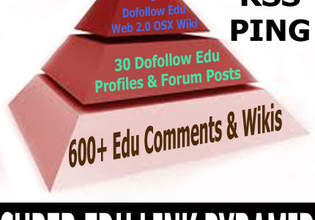 build three tiers edu gov link pyramid with 660 + links in total,  each submitted to rss and pinger sites,  article spinned for free