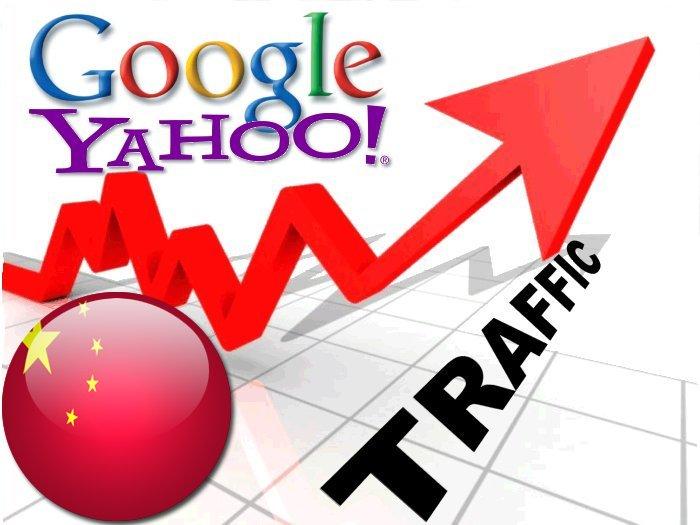 Organic traffic from Google. cn + Yahoo China