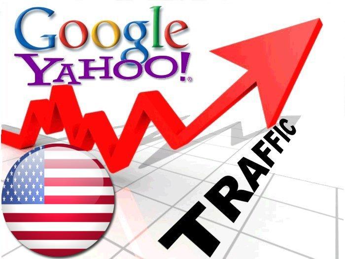 Organic traffic from Google. com + Yahoo USA