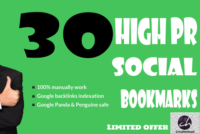 Will manually bookmark your site to High PR 30 social bookmarking sites only