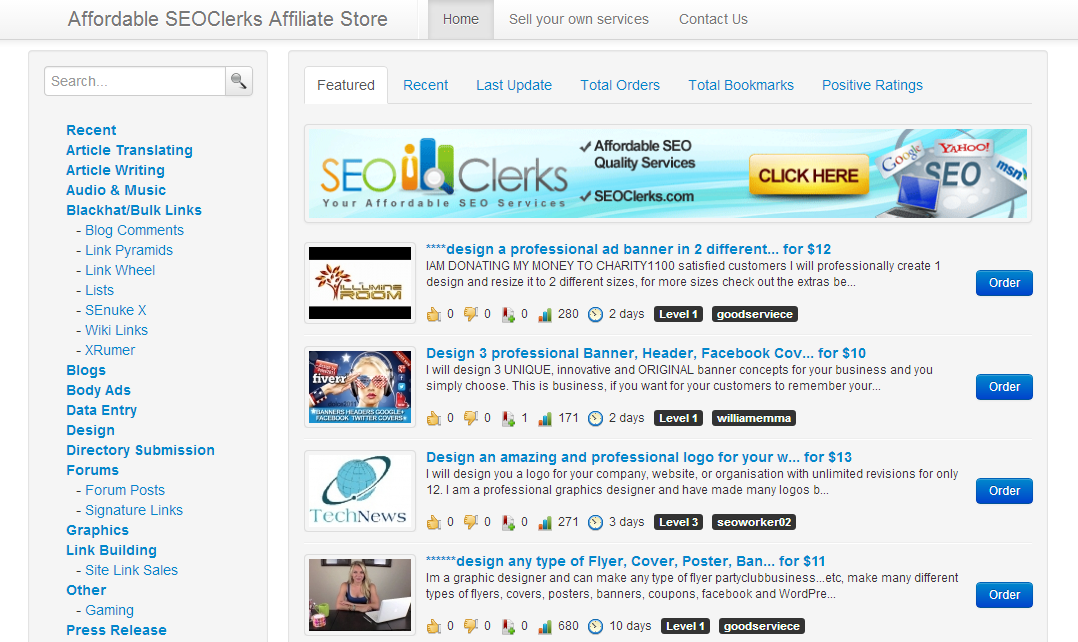 Affordable SEOClerks Affiliate Store