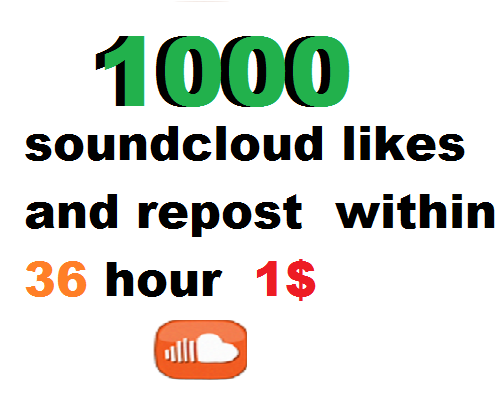 1000 soundcloud likes and 1000 soundcloud repost within 36 hour