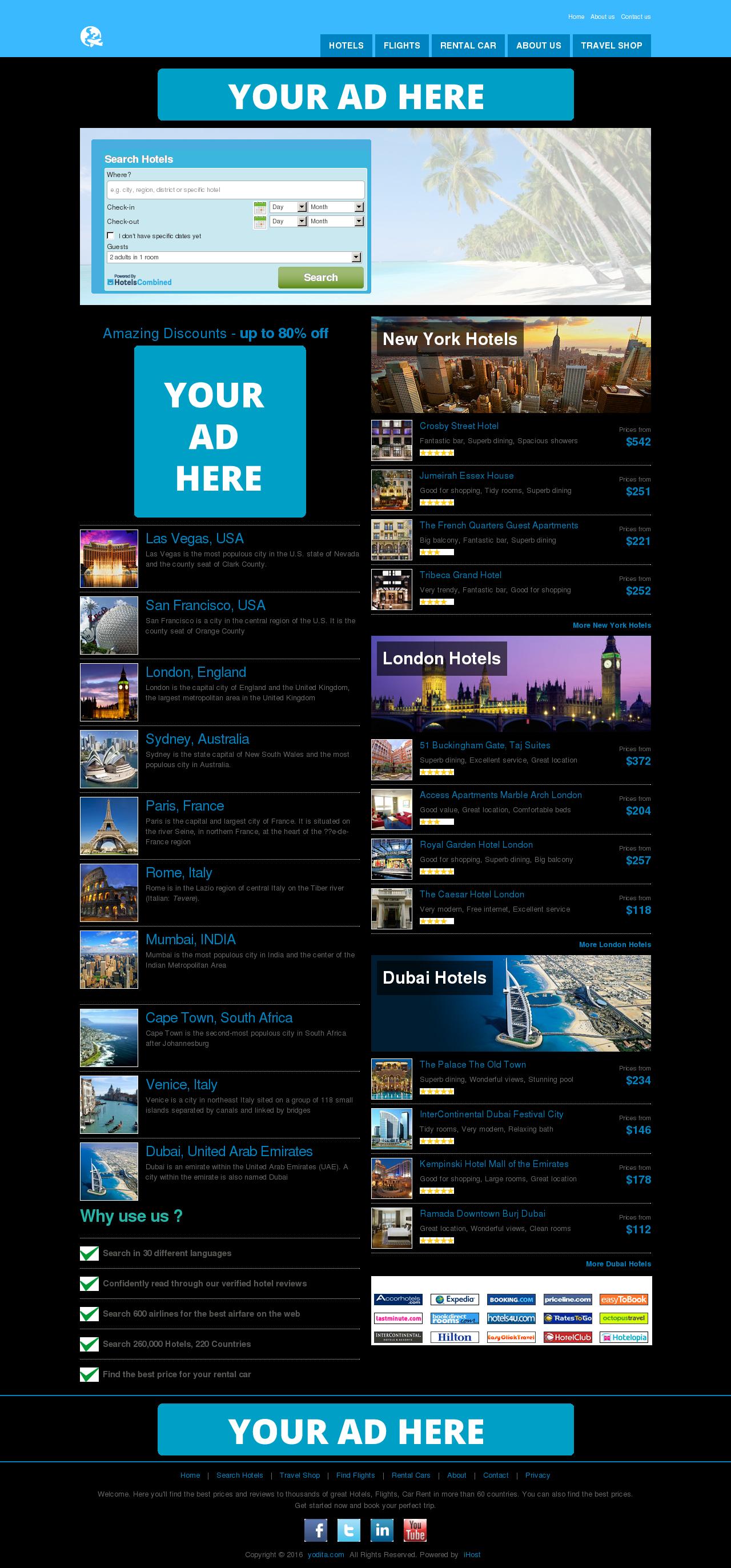 TRAVEL WEBSITE, HOTEL, FLIGHTS, CARS, FREE HOSTIN...