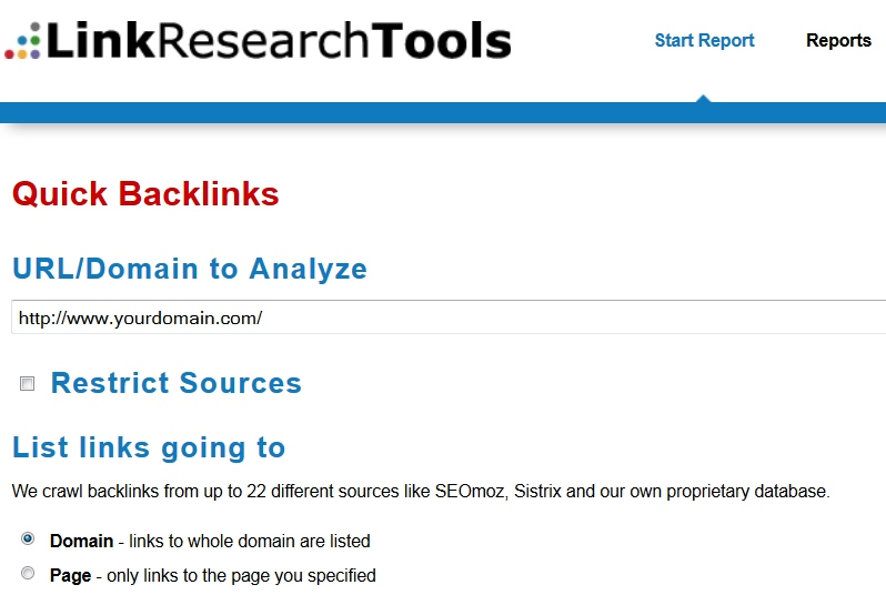 2 Link Research Tools Backlink Reports to Any URLs or Domains