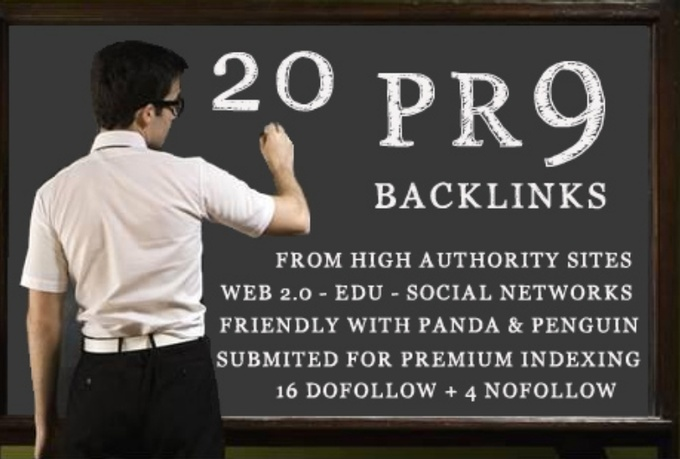create manually 15xPR9 + 5xPR8 edu. 20 contextual links on blogs + High Authority sites with super fast delivery only