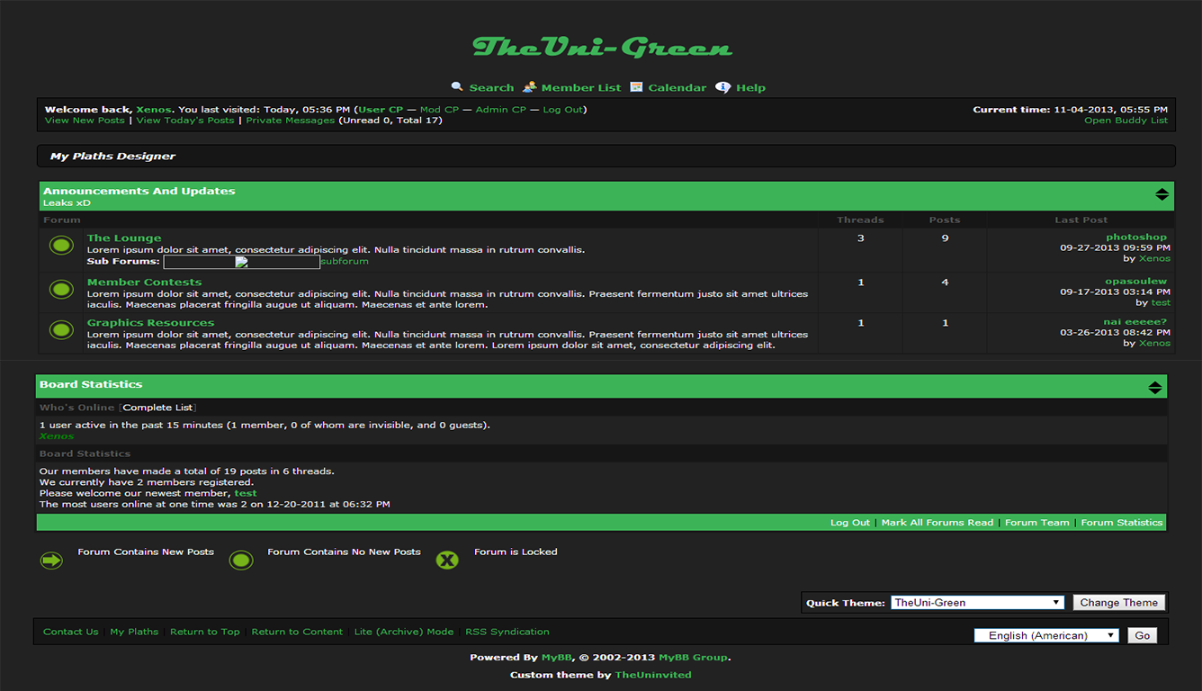 Simple mybb green theme!( TheUni-Green)