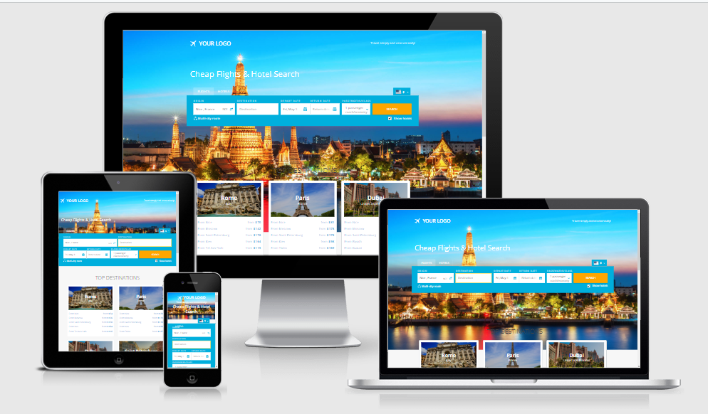 Travel search engine website with affiliates,  free host,  install included