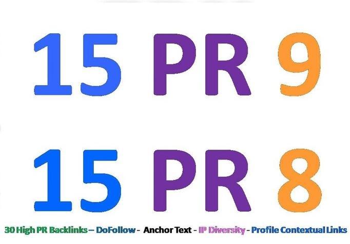 Generate 30 PR8 or above backlinks for your website