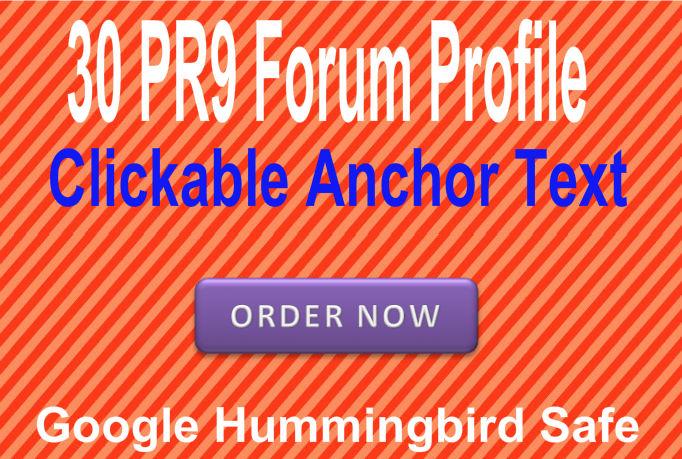 Provide 30 PR9 Forum Signature backlinks with clickable anchor keyword