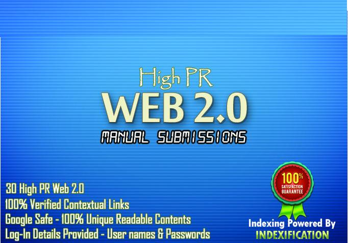 Produce 30 submission using 15 High PR web2 and article directories for your SEO