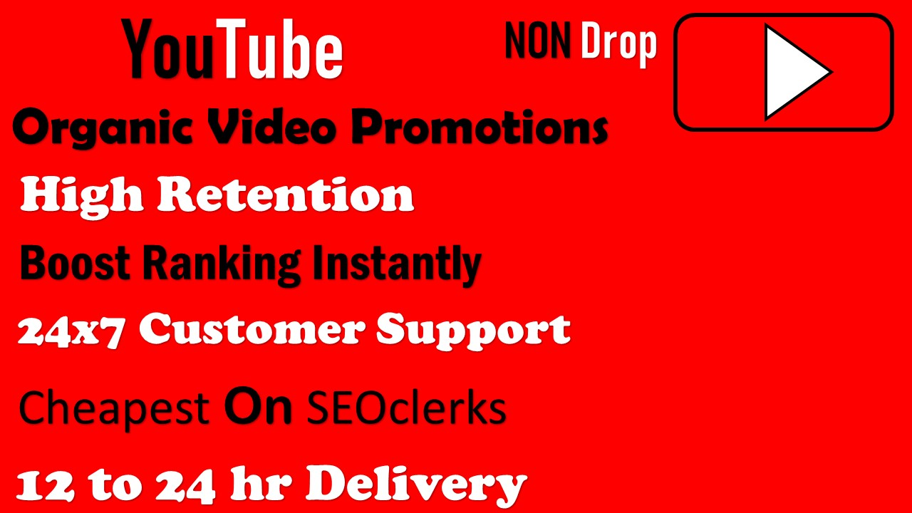 Organic YouTube Video Promotions 12-24 hr Delivery