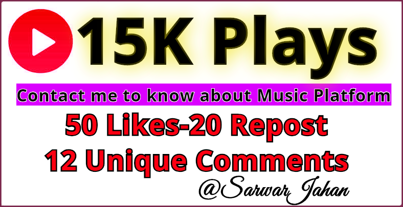 Great Exposure 15,000 PIays Listeners, 50 Favorite- 20 Re-Post and 12 C0mments