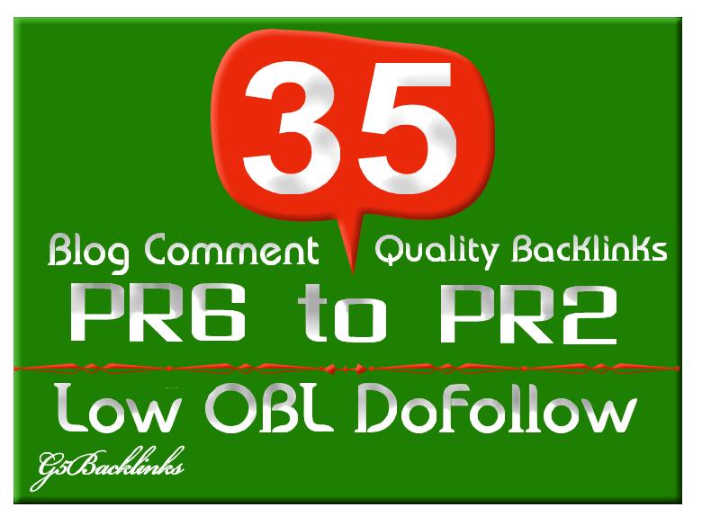 I will blog 35 Low Obl Blog Comment backlinks dofollow highpr Pr6 to Pr2