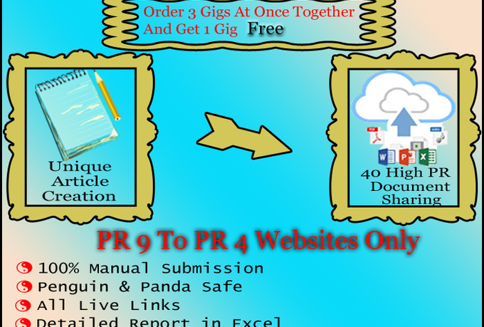 create 3 unique articles and upload to 120 high pr document sharing sites