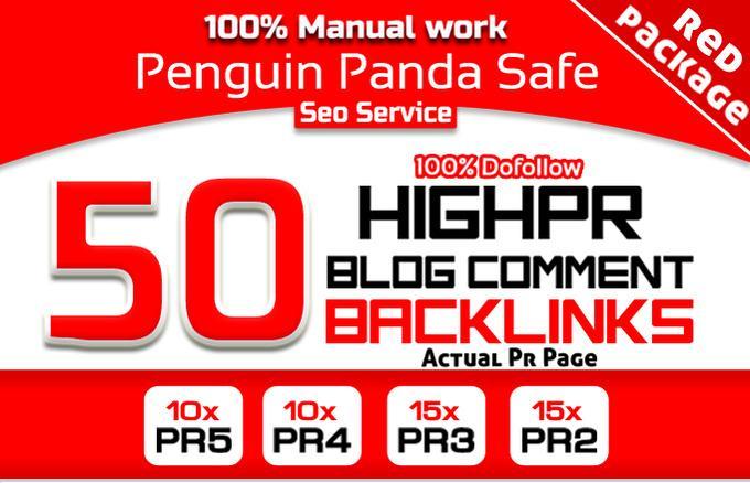 do Manually 50 Highpr Blog Comment SEO Backlink