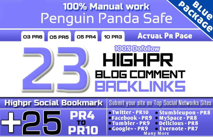 maNUALLY create 23PR6 to 3 Hammingbird Safe Blog Comment and 25 Social Seo Links