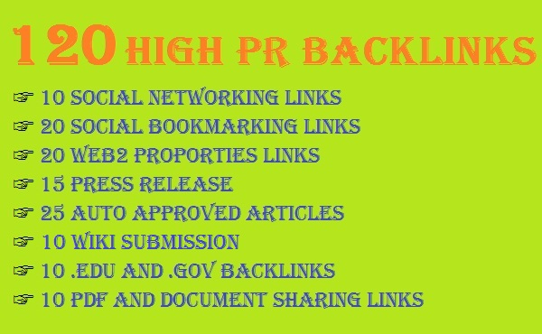 create 140  high PR Mixed Back links