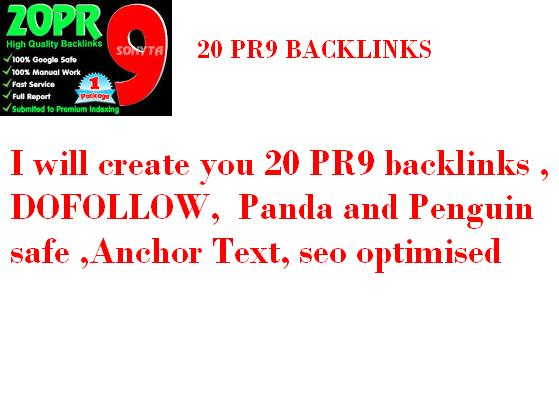 create you 30 PR9 backlinks , DOFOLLOW , Panda and Penguin safe , Anchor Text, seo optimised