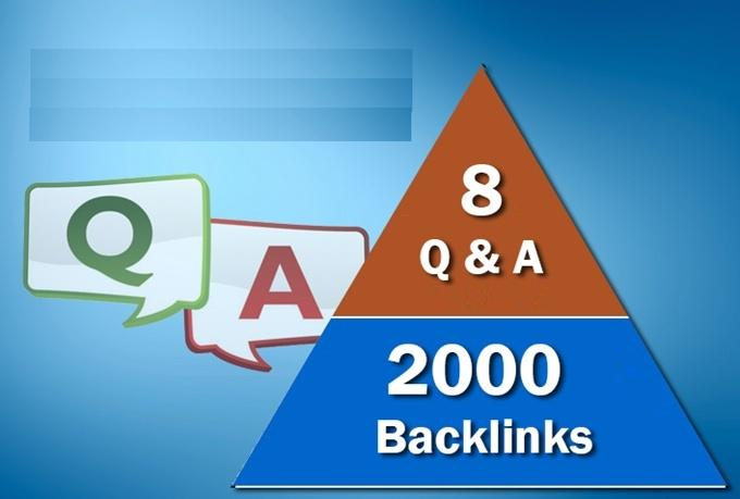 build 8 QUALITY seo backlinks from question answer sites plus 3000 links