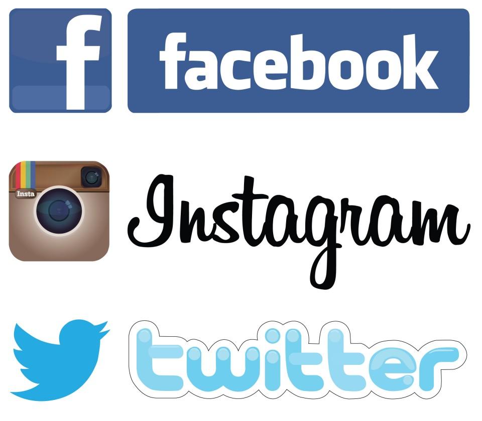 Image result for facebook twitter instagram