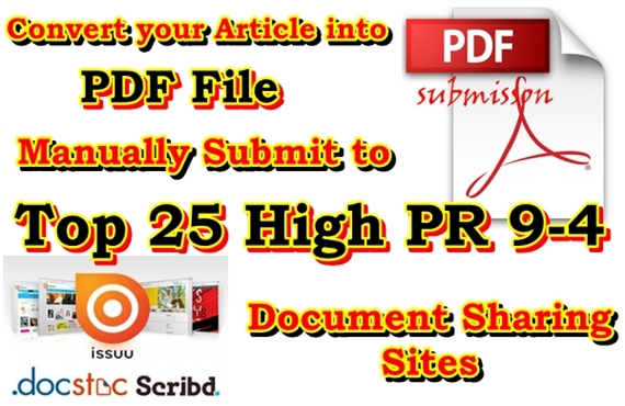 Manually submit your article to the Top 25 PDF Sharing Sites PR 9-4