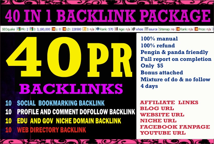 I will manually create 40 All In One High Pr Quality BACKLINKS Package in 4 days